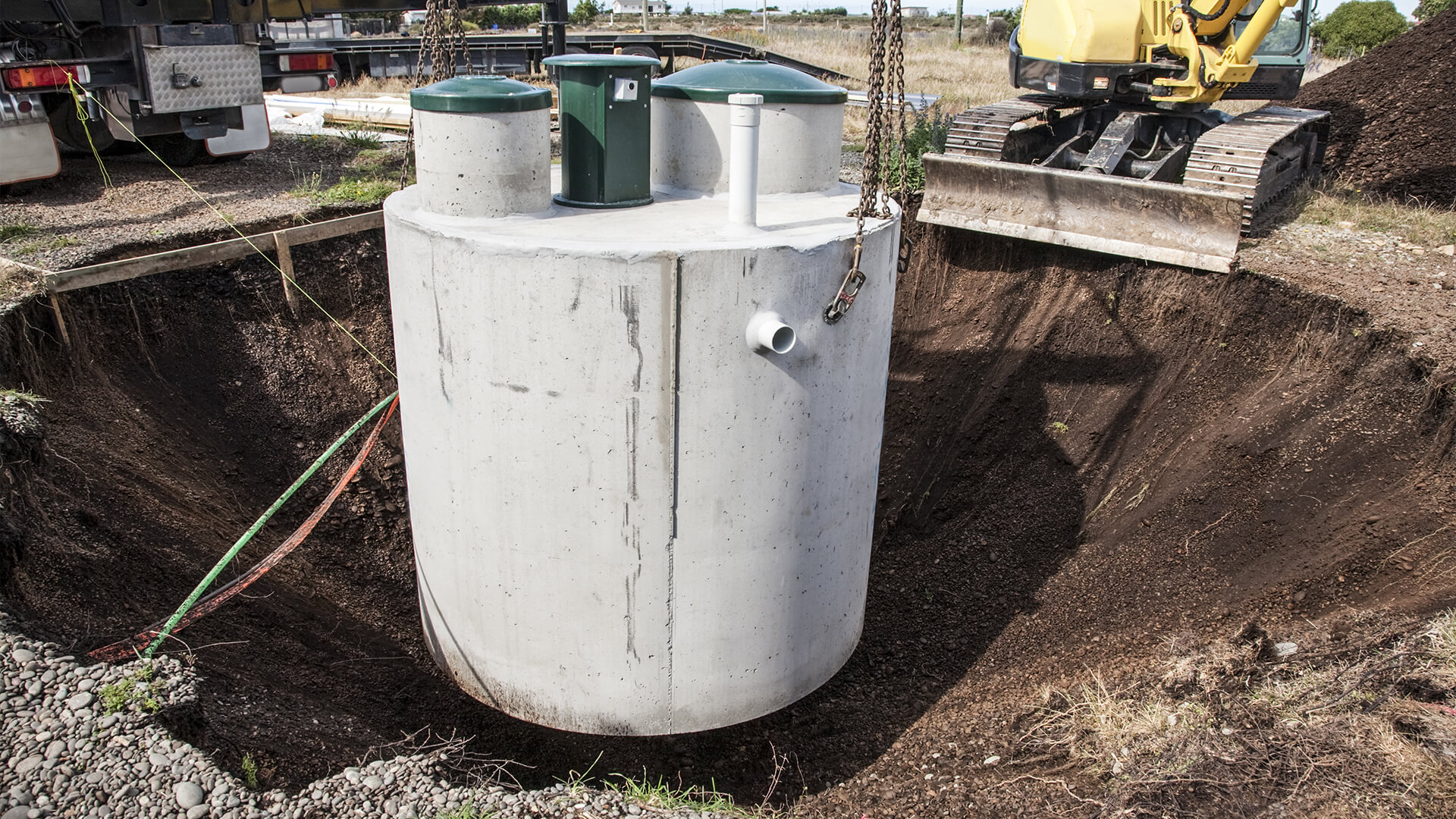 Residential septic tank on a homes property