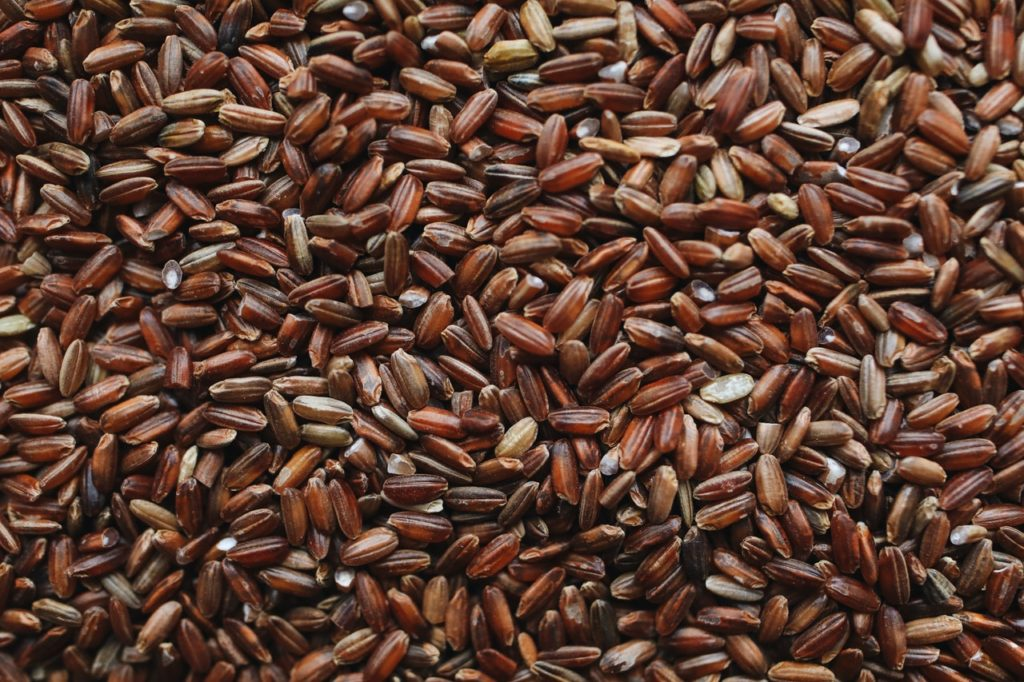 Close up of rice grains