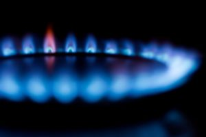 Blue flame from a boiler system