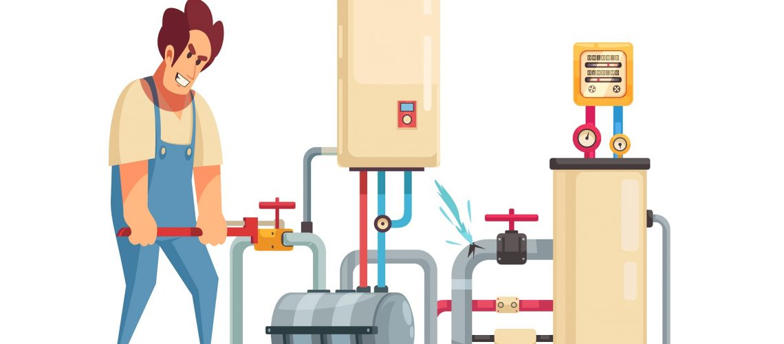 Illustration of a plumber fixing a leak in a plumbing system