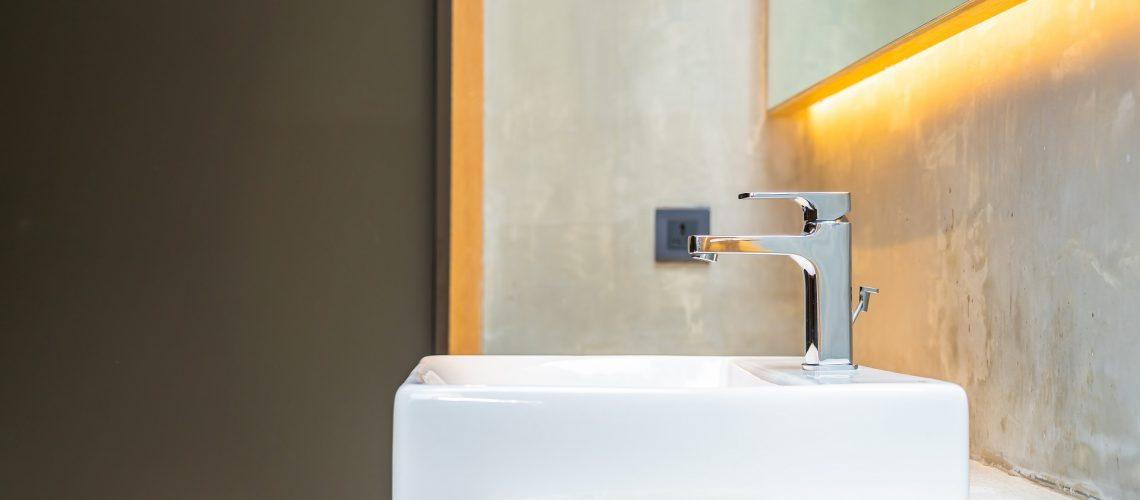 Modern sink and faucet in a bathroom